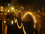 Lights on a canal bridge in Amsterdam