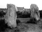 Standing stones and cottages, Carnac