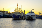 Boats in Fremantle near sunset